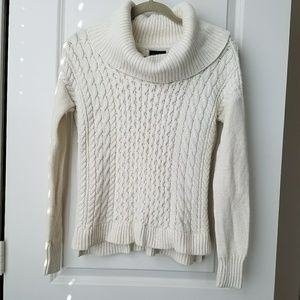 Cowl Neck Cable Knit White Sweater - XS